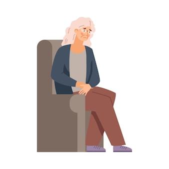 疲れと疲れを感じる年配の女性フラットベクトルイラスト分離