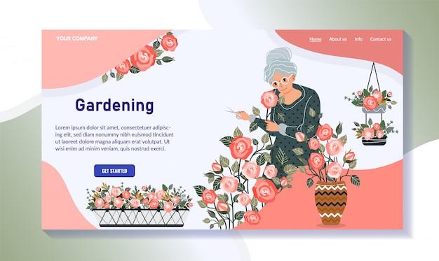 Пожилая женщина выращивания растений, садоводство хобби дизайн сайта, векторная иллюстрация