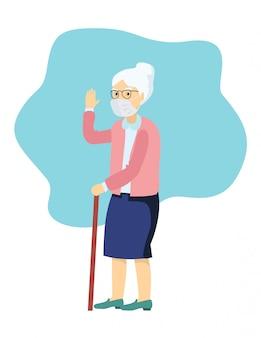医療マスクの高齢者の女性。祖母は医療用マスクを着用します。汚染のための高齢者医療。都市の大気汚染、空中感染症、コロナウイルスの予防マスクのシニアキャラクター。