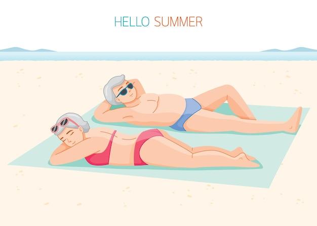 Elderly woman and man wearing bikini lying on mat together at beach
