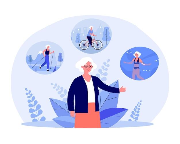 ノルディックウォーキング、自転車に乗って水泳をしている年配の女性。アクティブで幸せな生活フラットベクトルイラストとおばあさん。健康的なライフスタイル、バナー、ウェブサイトのデザインまたはランディングページのスポーツコンセプト