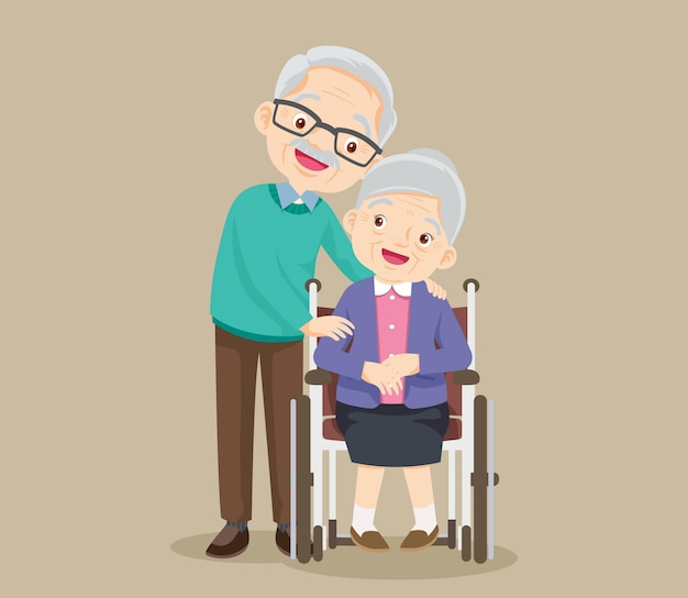 Elderly woman sit in a wheelchair and the old man tenderly puts hands on her shoulders. couple of elderly people.