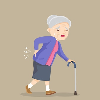 Elderly woman suffering from back pain old woman with a cane grandmother suffering from back pain