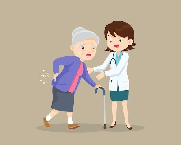 허리 통증으로 고통받는 노인 여성