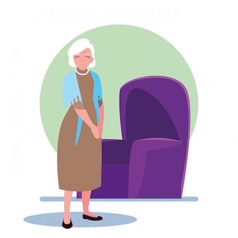 Elderly woman takes care of herself at home