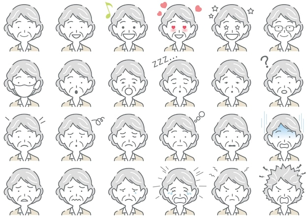 Elderly woman various facial expressions set isolated