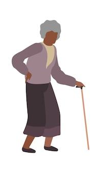 걷는 할머니. 지팡이를 짚고 서 있는 회색 머리를 가진 할머니 캐릭터, 고립된 노년 여성