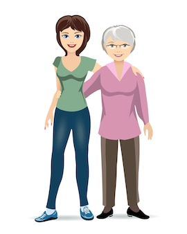 Elderly woman with adult daughter illustration