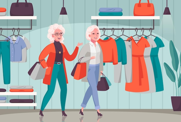Elderly women enjoying shopping together composition with senior people choosing clothes in department store