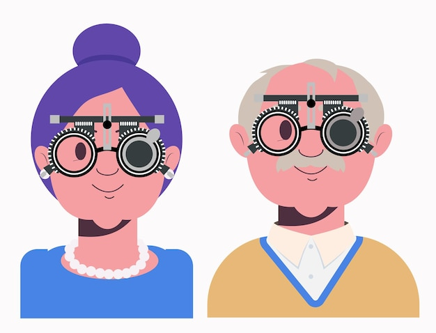 Elders vision checkup in the ophthalmological clinic optometrist checking eyesight lens selection