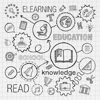 教育手は、統合されたアイコンセットを描画します。ライン接続落書きハッチピクトグラムを紙にインフォグラフィックイラストをスケッチします。 elearn、ネットワーク、学校、大学、情報、知識の概念