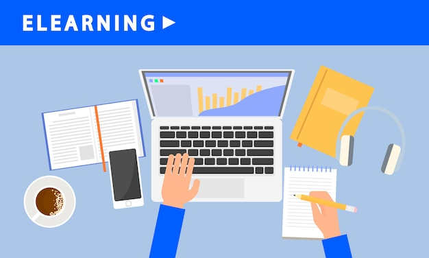Elearning banner, flat style