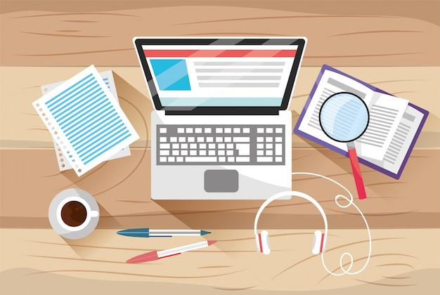 Elearning education with laptop technology and documents