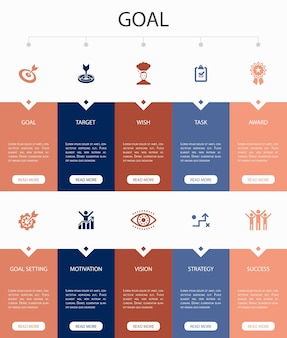 Elearning infographic 10 steps circle design. distance learning, online training, video training, webinar simple icons
