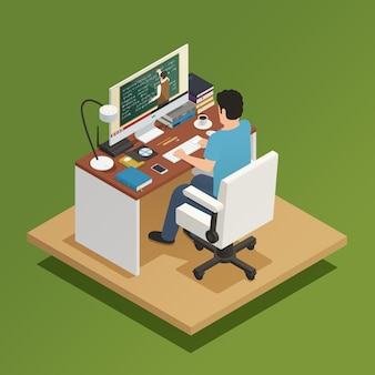 Elearning isometric composition