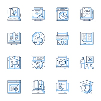 Elearning, remote education linear vector icons set.