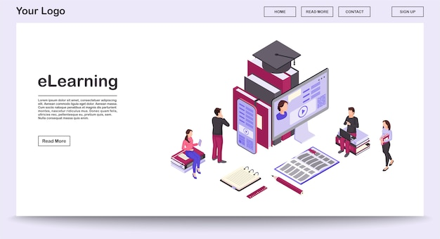 Elearning webpage vector template with isometric illustration, landing page