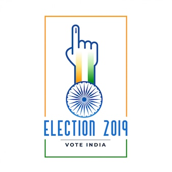 Election 2019 label with voting hand