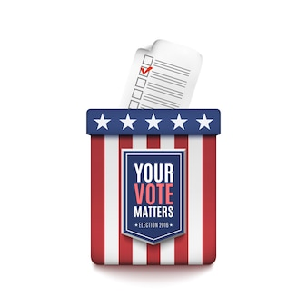 白い背景の上の有権者登録申請書と選挙投票箱。図。