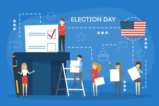 선거 캠페인 개념. 사람들은 후보자에게 투표합니다. 결정을 내리고 투표 용지를 상자에 넣습니다. 민주주의와 정부에 대한 아이디어. 만화 스타일의 그림