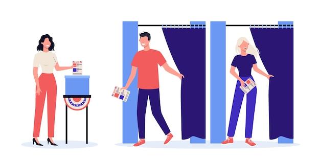 選挙運動のコンセプト。人々は候補者に投票します。決定を下し、投票用紙を箱に入れます。民主主義と政府のアイデア。