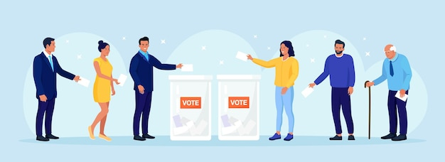 Election campaign. different voters casting ballots at polling place. people making decision and putting paper ballot in vote box. idea of democracy and government