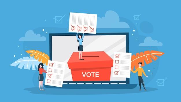 선거 운동. 사람들은 후보에게 투표합니다.
