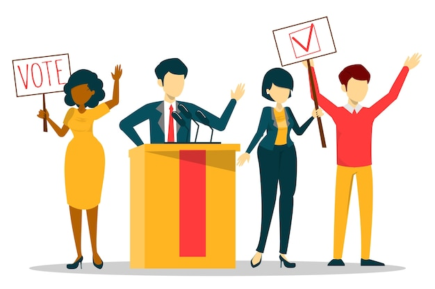 Election campaign, vote for candidate. speaker in suit, political person. democracy and politics. female and male citizen choose president.