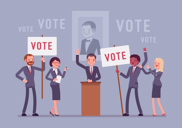 Election campaign voting. politician or party candidate in excited speech persuades to vote for him, active people at meeting holding signs, banners to support.   style cartoon illustration
