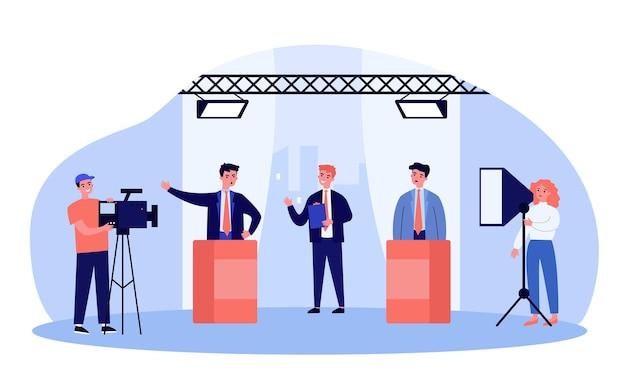 テレビ番組で議論する選挙候補者