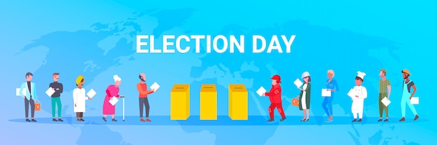 Election day concept different occupations voters casting ballots at polling place during voting  people putting paper ballot in box full length  horizontal world map background