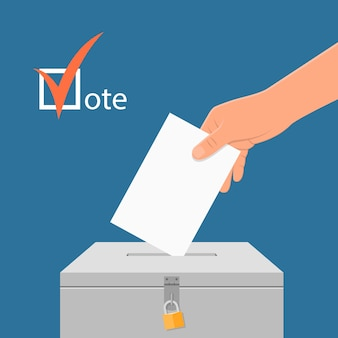 Election day concept illustration. hand putting voting paper in the ballot box. voting concept in flat style.
