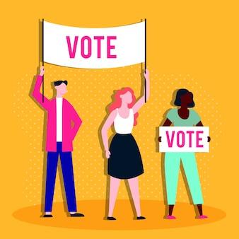 人とプラカードによる選挙日の民主主義