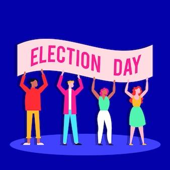 人々との選挙日の民主主義