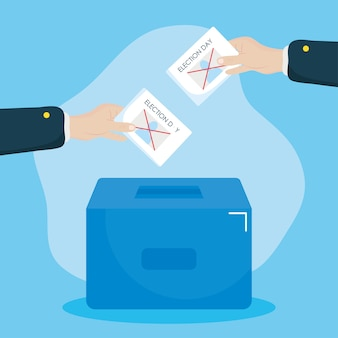 Election day design hands holding a votes and ballot box over blue background