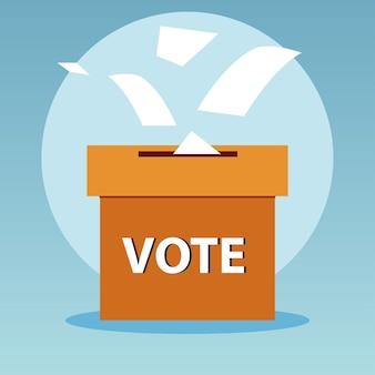 День выборов, падающие бюллетени в картонной коробке