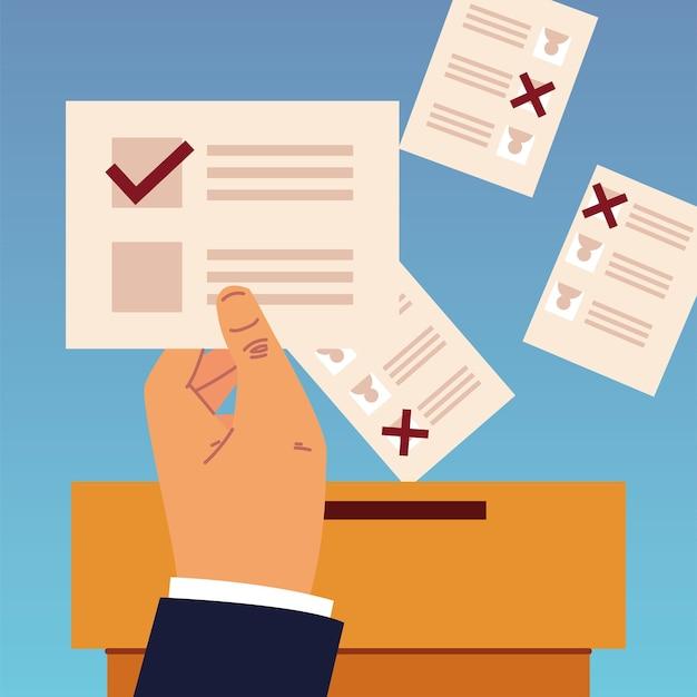День выборов, рука, держащая бюллетень и документы в коробке