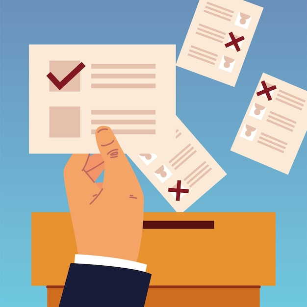 Election day, hand holding ballot and papers in box