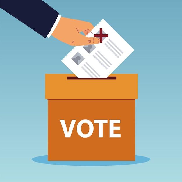 День выборов, рука толкает бюллетень в ящик