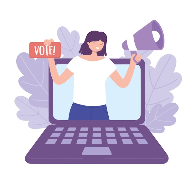 Election day, happy woman in laptop with megaphone and vote lettering vector illustration