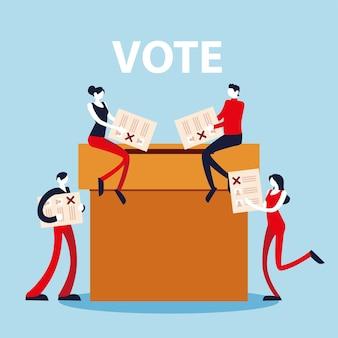 День выборов, люди с бюллетенями и ящиком