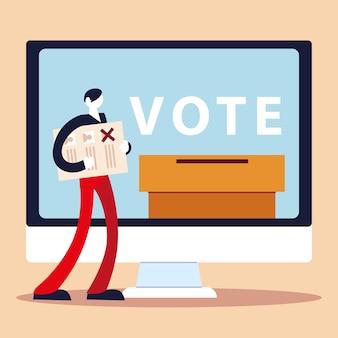 День выборов, человек с ящиком для голосования компьютера бюллетеней