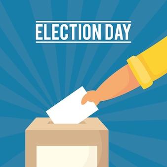 ボックスに投票カードを手で挿入して選挙日