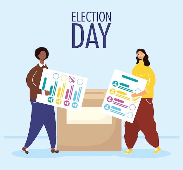 День выборов с межрасовой парой, поднимающей карточки для голосования в коробке
