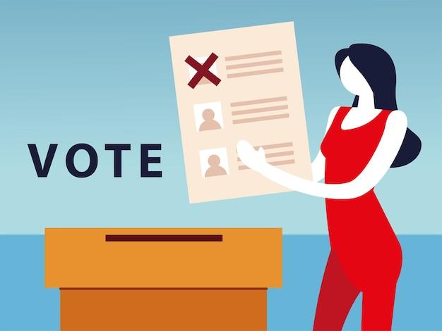 День выборов, женщина с бюллетенем для голосования и ящиком