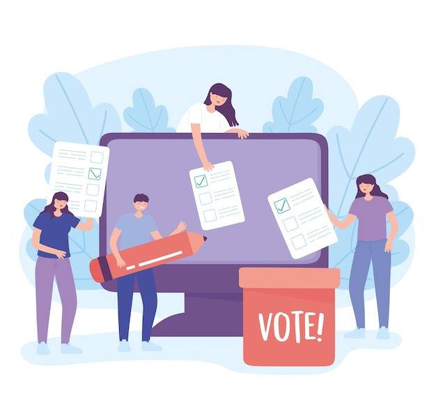 選挙日、オンラインコンピューター投票と鉛筆のベクトル図に投票する若者
