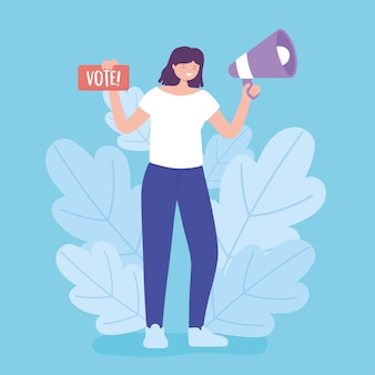 Election day, young woman with megaphone and vote sign vector illustration