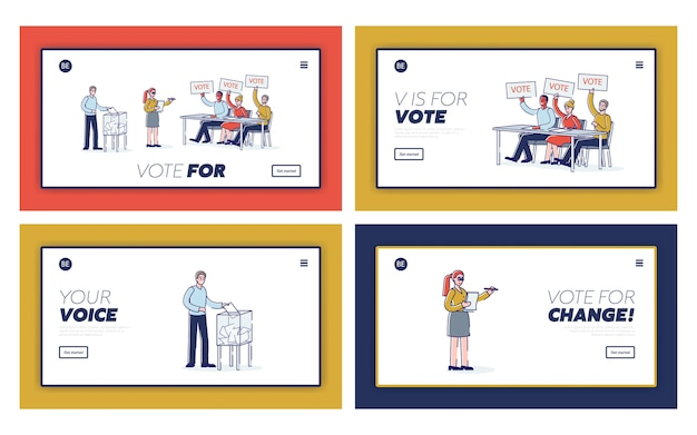 Election and democracy set of landing pages