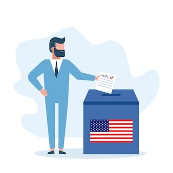 選挙。男はオンライン投票をし、投票箱に投票を入れます
