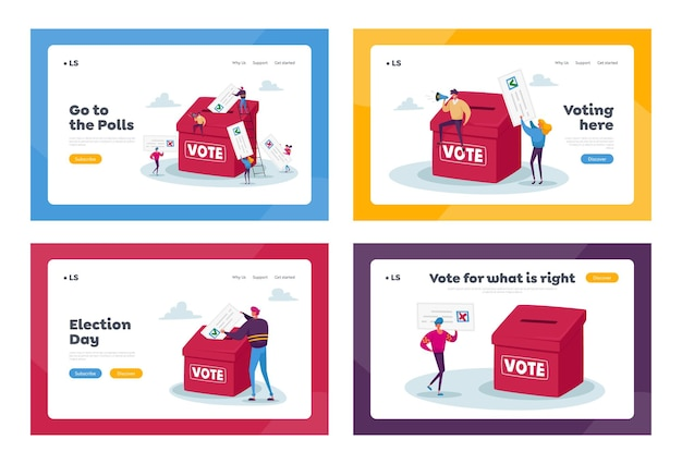 Election or social poll landing page template set